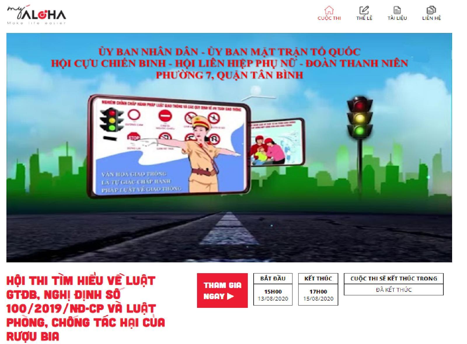 Phường 7: tổ chức Hội thi trực tuyến tìm hiểu về Luật Giao thông đường bộ